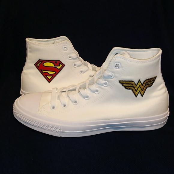 49f7fe41b1d5 NWT Custom Converse Wonder Woman Superman High Top